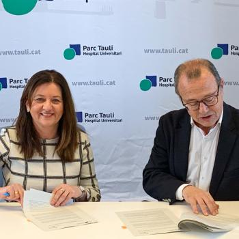 Concha Costán, Coordinadora del programa de la Fundación Stanpa en Cataluña y el Dr. Joan Martí López, dir. gral. del Consorci Corporació Sanitaria Parc Taulí